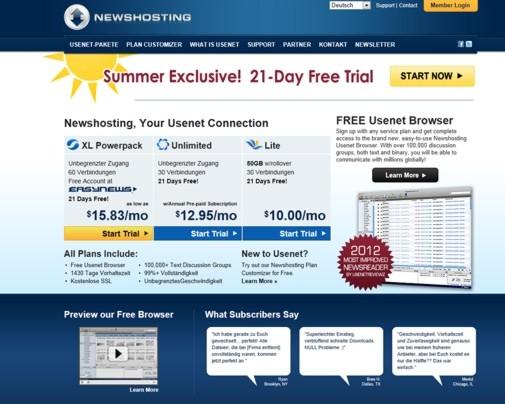 Newshosting Webseite