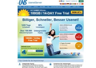 UNS Usenetserver Webseite
